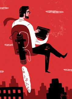 Stock Illustration : Businessman working on digital tablet while flying in jet pack airplane seat