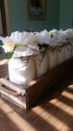 Mason jar centerpiece Mason Jar table by StacyTurnerCreations
