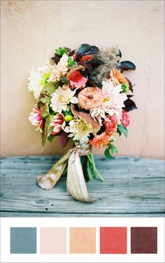 So I have to say this is my all time favorite. I know that the flowers are not your style but the pallet is amazing. I love the teal, coral, bright pink, cream and dark brown almost black.