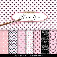 New Freebies Kit of Backgrounds - I Love You:Far Far Hill - Free database of digital illustrations and papers