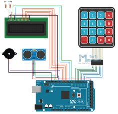 Arduino Home security Alarm system with keypad ultrasonic presence detector, LCD and buzzer. Arduino Cnc, Arduino Bluetooth, Arduino Mega, Arduino Circuit, Servo Arduino, Arduino Beginner, Arduino Programming, Security Surveillance, Computer Programming