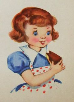 Adorable Vintage Greetings Card. Collectible. Scrap booking. Baking you a Cake...