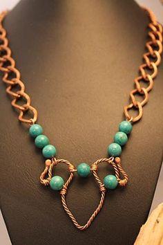 Pendentif en cuivre torsadé, agrémenté de turquoises verte by CreationBizart on Etsy