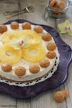 Cheesecake ananas e amaretti ricetta senza cottura Dulcisss in forno by Leyla