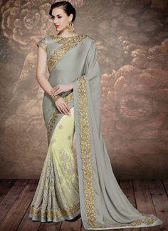 Vasu Saree Aristocratic Net Grey Designer Bridal Saree Sarees on Shimply.com