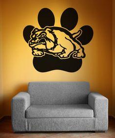 Vinyl Wall Decal Sticker Bulldog with Dog Print Spirit Sticks, Bulldog Mascot, Mascot Design, Vinyl Crafts, Wall Decal Sticker, Textured Walls, Classroom Decor, Wall Prints, Wood Signs