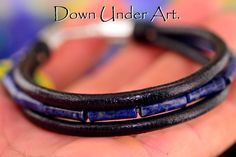2B-070 Sterling Silver Lapiz Lazuli & Leather Bangle Wristband Men Bracelet