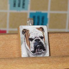 Bulldog Scrabble Tile Pendant by CarolsThreads on Etsy