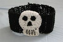 "Original pinner said, ""Skull Bracelet Free Crochet Pattern"