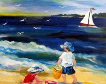 Beach Play Original Painting 16 x 20 Art by Elaine Cory