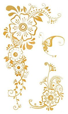 """Wonbeauty Gold temporary tattoos size 4.92""""x2.56"""" India & Middel Eastern Style Flower and Butterfly Golden gold jewelry tattoos. Safe and non-toxic design ideal for body art. Professional grade made to last 3 to 5 days and easily transferred by water. Perfect for vacations, girls night, pool parties, bachelorette parties, or any other event you want to look glamorous."""