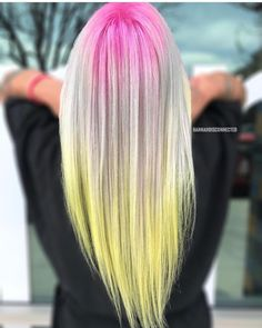 is the artist. Pulp Riot is the paint. Popular Hairstyles, Cool Hairstyles, Hair Color Placement, Pulp Riot Hair Color, Yellow Hair, Hair And Nails, Hair Makeup, Long Hair Styles, Artist