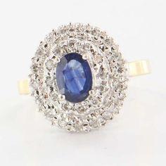 Vintage 14 Karat Yellow White Gold Diamond Sapphire Princess Cocktail Ring Used $495