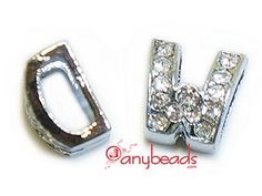 """Alphabet """"W"""" Slide Charm with Crystal Rhinestones. Create your own unique personalized name bracelet."""