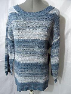 Nwt DEBBIE MORGAN Crochet Sweater top womens M,L Brown,Blue Metallic stripe Boho