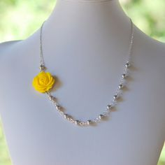 Dainty Yellow Rose and Grey Swarovski Pearl Beaded by RusticGem, $38.00