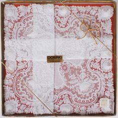 Swiss Lace Bridal Handkerchief by Doerig Vintage Wedding Hankie New In Box Unused