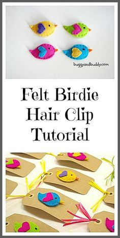 to Make Felt Bird Hair Clips for Girls Super easy and adorable birdie hair clips made from felt {Tutorial}Super easy and adorable birdie hair clips made from felt {Tutorial} Cute Crafts, Felt Crafts, Crafts To Make, Crafts For Kids, Sewing Crafts, Sewing Projects, Craft Projects, Projects To Try, Felt Flowers