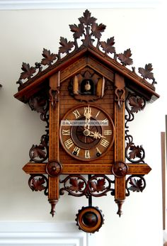 Johann Baptist Beha Cuckoo Clock with Music Box Swiss Clock, Coo Coo Clock, Antique Clocks, Vintage Clocks, Cool Clocks, Clock Decor, Wooden Clock, Antique Stores, Black Forest