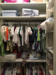 Shelves added to the side, and to the top in addition to double hanging maximize space in this small closet. Supply Room, Maximize Space, Organization, Organizing, Mudroom, Declutter, Wardrobe Rack, Storage Spaces, Design Projects
