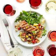 Wild Salmon with Grilled Sweet Onion and Corn Relish - cut the oil down to 1 T and add a spring mix salad with a FF or light vinaigrette for an awesome dinner!