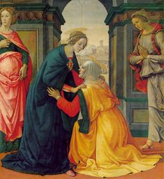 Visitation: 1491 by Domenico Ghirlandaio (Musee du Louvre - Paris) - Early Renaissance Catholic Art, Religious Art, Michelangelo, Lucas 1, Gospel Of Luke, Blessed Mother Mary, Queen Mother, Louvre Paris, Christian Artwork