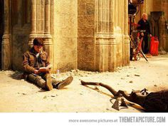 Harry Potter reading Harry Potter on the set of Harry Potter…
