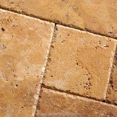 Travertin Yellow French Pattern Brushed & Chiseled Edge 3cm