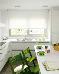 pop of colour in an all white kitchen