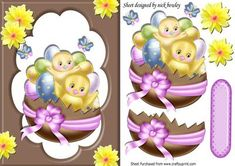 Little chicks in an easter egg with chocolate frame daffs on Craftsuprint - Add To Basket!
