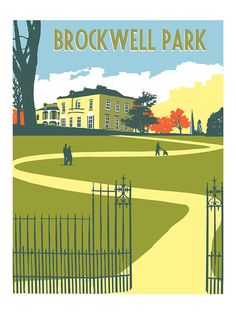 Brockwell Park, Herne Hill, Brixton, Tulse Hill, South London – Limited Edition Screen Print - (Un)Framed London Sign, London Art, London Photos, Art Deco Posters, Retro Posters, South London, Modern Art Styles, Brixton, Croydon