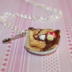 Chocolate French Crepe Necklace Food Necklace Kawaii por Dleesnow