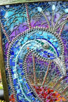 Mosaic Peacock Chest of Draws ~ H 95cm, D 22cm, W 30cm (This piece has taken me months, and is reflected in the price, it was a real labour of