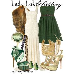 Lady Loki--no to both shoes, the fur scarf (definitely no to that one), and the tooth/claw necklace (not really a wedding thing, though I like it otherwise). YES to both dresses and the rest of the accessories.