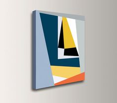 Modern Art Print  Yellow Blue and Grey  by TheModernArtShop, $85.00