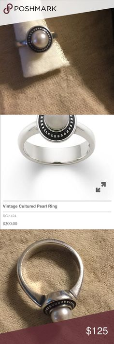 James Avery vintage pearl ring Sz 7 Sterling. Light normal wear. James Avery box included James Avery Jewelry Rings