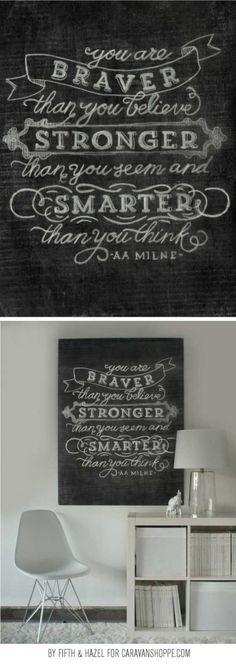 Free Braver, Stronger, Smarter Chalk Art Print from Caravan Shoppe!