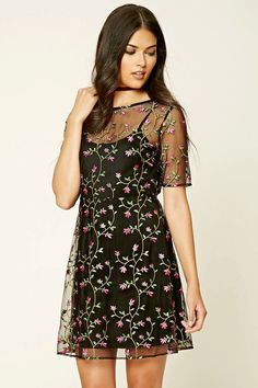 Forever 21 Contemporary - A sheer mesh sheath dress featuring a floral foliage embroidery, an illusion neckline, short sleeves, keyhole back, adjustable cami straps, and a concealed back zipper.