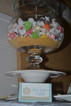 Live Smile Celebrate: Beach Themed Bridal Shower: salt water taffy-cute!