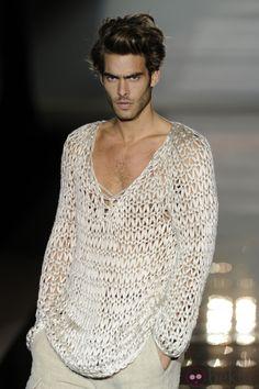 "dedapuma: ""Jon Kortajarena for Roberto Verino Jon Kortajarena, Boho Fashion, Mens Fashion, Fashion Design, Bohemian Style Men, Gay Outfit, Mode Crochet, Gentleman Style, Stylish Men"