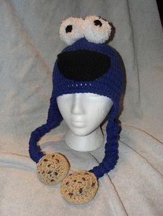 Free Crochet Cookie Monster Hat Pattern.