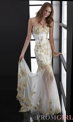 Long Strapless White and Gold Formal Gown at PromGirl.com