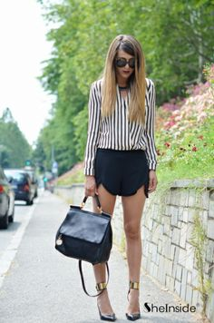 Black Beige Vertical Stripe Stand Collar Blouse - Sheinside.com