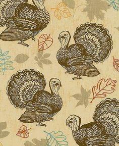 1YD Rustic GATHERINGS TURKEY Bird Brown Leaf Thanksgiving Autumn Newcastle #NewcastleFabrics