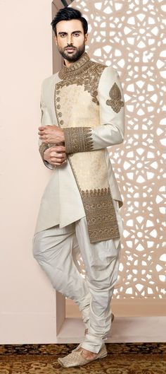 Silk IndoWestern Dress in White and Off White with Cut Dana work White and Off White color IndoWestern Dress in Imported, Silk fabric with Bugle Beads, Cut Dana, Patch, Stone work Sherwani For Men Wedding, Wedding Dresses Men Indian, Wedding Dress Men, Wedding Suits, Wedding Outfits For Men, Mens Sherwani, Sherwani Groom, Punjabi Wedding, Tuxedos