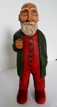 Hand Carved Whittled Wood Bedtime Santa in by SuzanneJacobs, $85.00