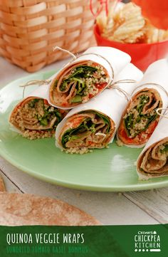Healthy, easy to make and delicious, the whole family will love this Quinoa Veggie Wraps recipe for lunch, dinner or even cut up into snackable bites!
