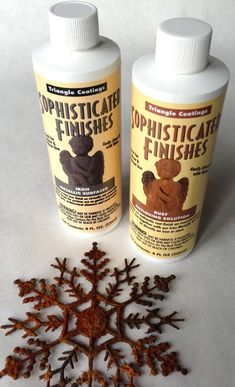 DIY:  $ Store Snowflake Facelift - Sophisticated Finishes, found in craft stores, is like magic! Simply paint the iron finish on (the bottle is heavy! It actually has pieces of iron in it), then paint on the activator & it will start to rust! I spray vinegar on instead of using the activator (much cheaper!), let dry & spray vinegar again, let dry, then seal. This product is great on anything plastic!
