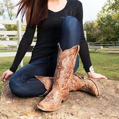 NEW from Corral! http://www.countryoutfitter.com/products/66695-womens-cognac-bone-inlay-cross-and-studs-square-to/?lhb=style&lhs=p