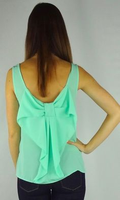 Mint Green Solid Sleeveless Bow Back Blouse Shirt Tank Top